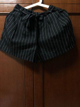 Black and white striped summer shorts