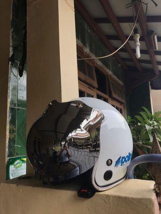 Helm bogo kaca chrome engsel baru