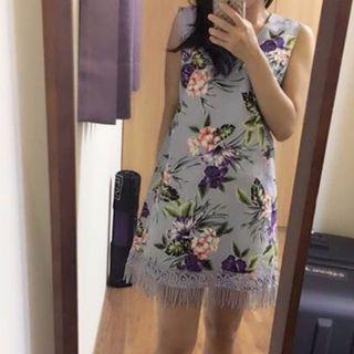韓國 棉麻材質 夏天穿的洋裝 水藍色洋裝