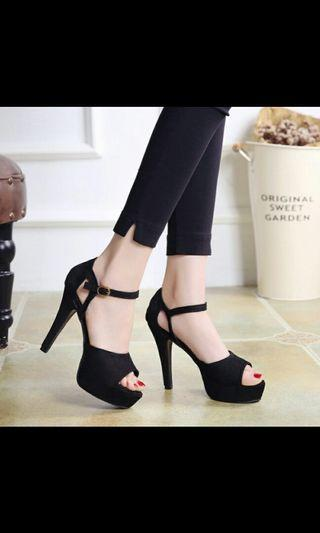 (NO INSTOCKS!)Preorder korean waterproof suede ankle straps high heel shoes* waiting time 15 days after payment is made*chat to buy to order