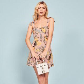 INSTOCKS Christine tie straps dress - pink floral with birds