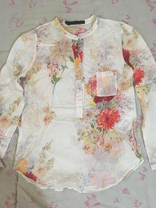 Long sleeved Floral Polo