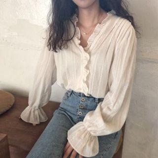 White V neck ruffle blouse