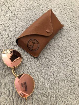 Ray Ban round flash sunnies in pink