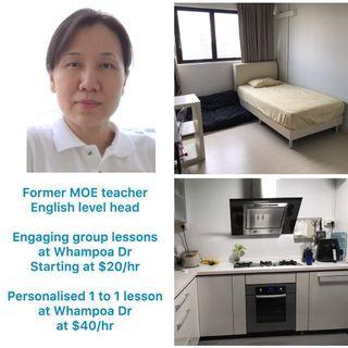 Former MOE Teacher. Young & Adult English. Near to Hong Wen Primary.