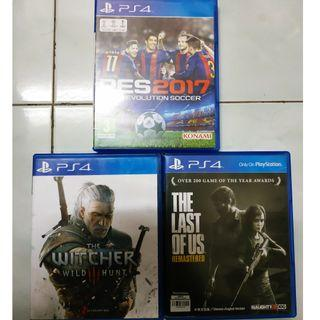 CD Game PS4 PES, The Witcher Wild Hunt & The Last of Us