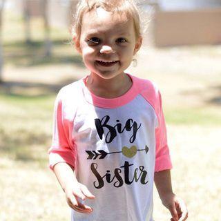 Big sister long sleeves pink shirt raglan