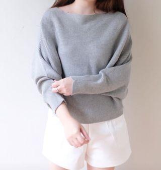 Grey sweater bahan rajut tebal import bkk