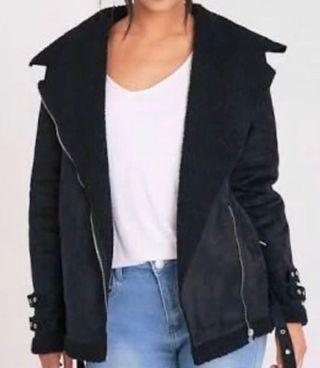 Black Fuax fur Aviator jacket