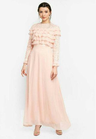 Zalia Embelished lace layered dress