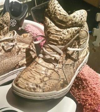 REAL Snakeskin Custom Puma High Tops shoes US11 Leather sneakers nike