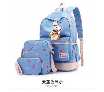🚚 【Q夫妻】Backpack 時尚 三件套 書包 布包 雙肩包 單肩包 手包 後背包 休閒包 女包 天藍色 #B1513-3