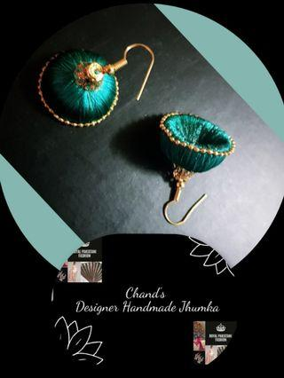 🚚 Turquoise Silk Thread Jhumka Indian Pakistani traditional earring