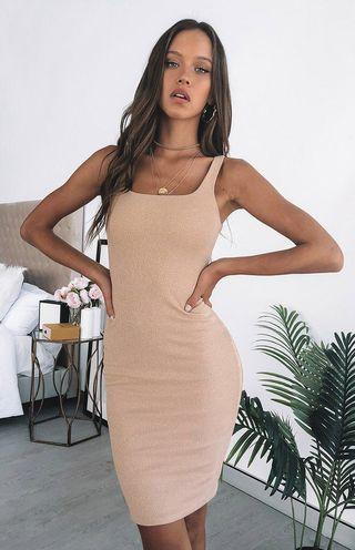 Hilary midi dress champagne knit