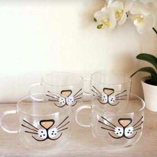 Cat Face Glass Mugs