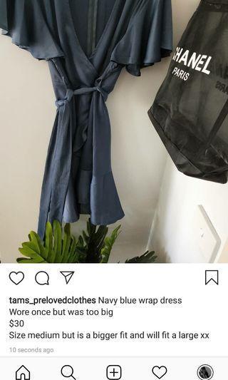 Navy blue silk wrap dress
