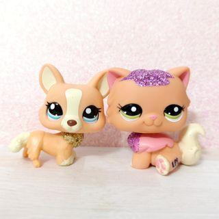 Littlest Pet Shop lps RARE sparkle set - corgi dog and persian cat