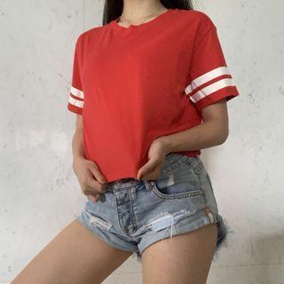H&M紅色美式t恤