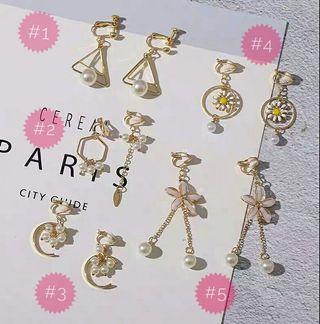 Korean Earrings-earclips (clip on)(Pearl)