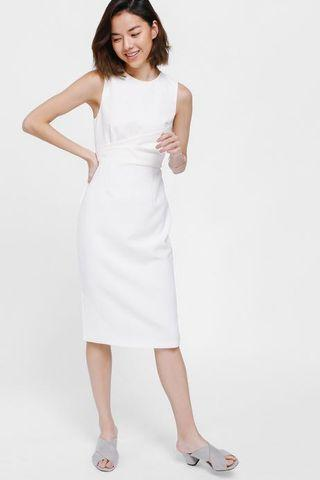 Lovebonito Orcas Ruched Midi Dress in White - Size XS