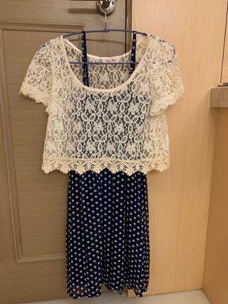 🚚 藍色點點短洋裝