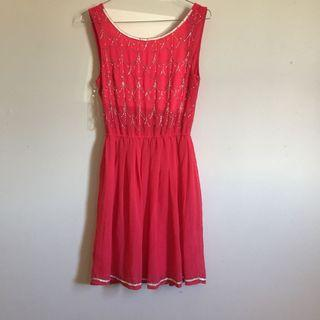 Red dress with sequins