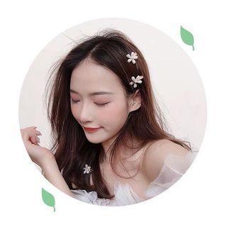 (一套2個) 小清新珍珠花朵髮夾