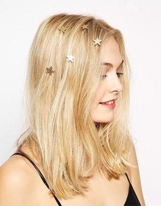 (一套2個) 夢幻金色星星螺旋髮夾