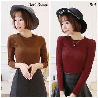 READY STOCK💝 Knitted Turtle Neck T-Shirt Baju Cantik Casual Women Top