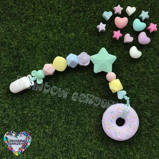 Handmade customised Silicone beads Pacifier Clip + Lilac Donut teether