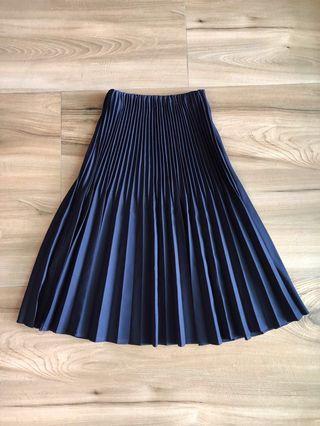 MEIER.Q 深藍色百褶設計感長裙