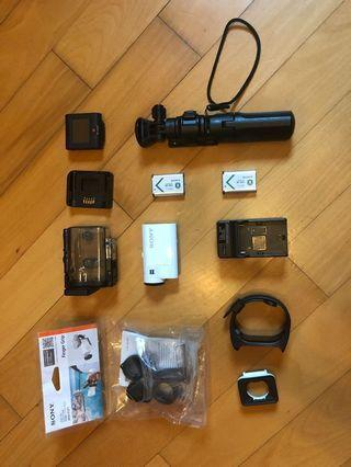 Sony action cam HDR-AS300R with accessories