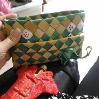 換物可) 柬埔寨金邊棕櫚葉手編包/收納包/藝品包