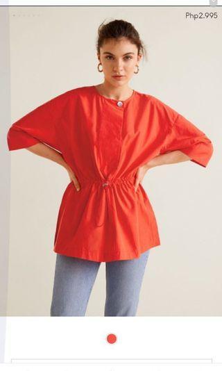 Mango linen red blouse / top