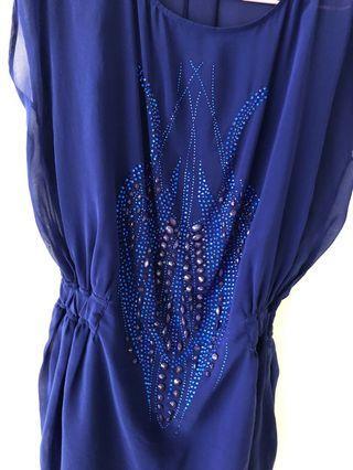 🚚 黃淑琦寶藍色洋裝