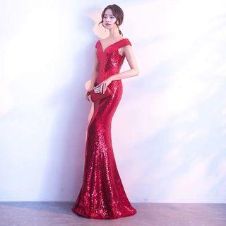Evening Gown wedding red shinny