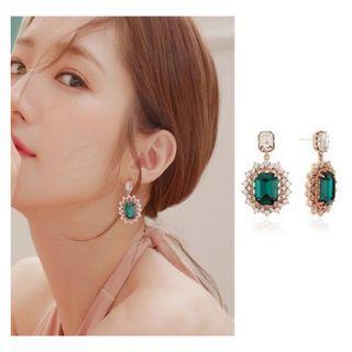My Private Life Korean Drama Green Crystal Rhinestones Drop Down Earrings - New