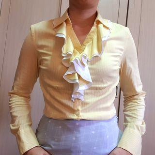 G2000 shirt (woman) ladies office wear yellow with long sleeve and ruffles size 38