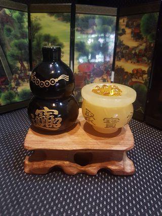 黄玉聚宝盆黑曜户茹yellow crystal prosperity vase black obsidian gourd