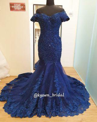 Mermaid navy blue wedding gown