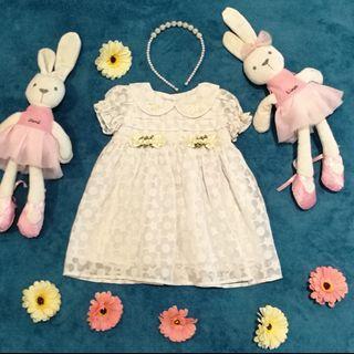 Lovely Lace Baby Girl Newborn White Cotton Flower Dress