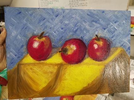 Hand painted apple oil painting