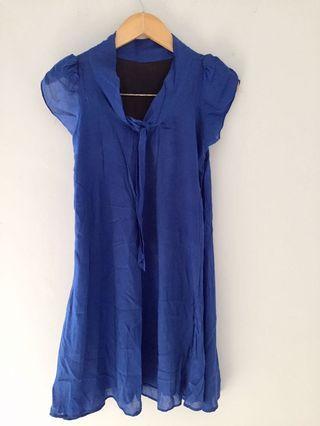 Dress A line Biru