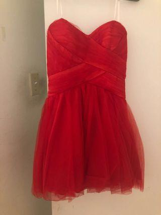 Strapless Hot red dress size small