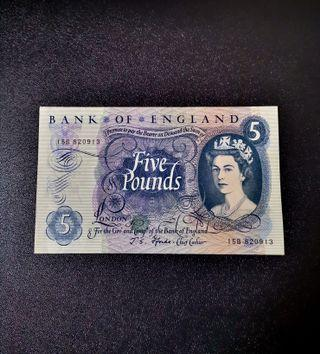 🇬🇧 1966 Great Britain~Bank Of England 5 Pound Paper Banknote