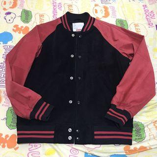 中古 Supreme Suede Varsity Jacket Red