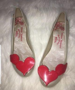 Melissa x Vivienne Westwood Red Angel Wings Flats Shoes