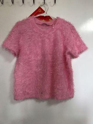 Zara 毛毛針織短袖 T Pink Top