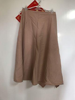 Zara 肉色不規則過膝裙 斯文裙