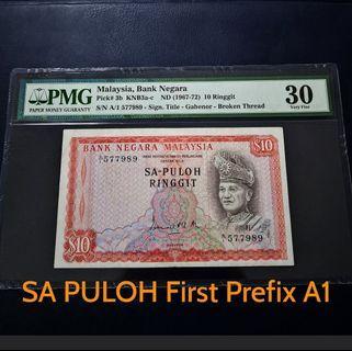 🇲🇾 Malaysia 1st Series SA-PULOH RM10 Banknote~A1 First Prefix~PMG 30 Very Fine